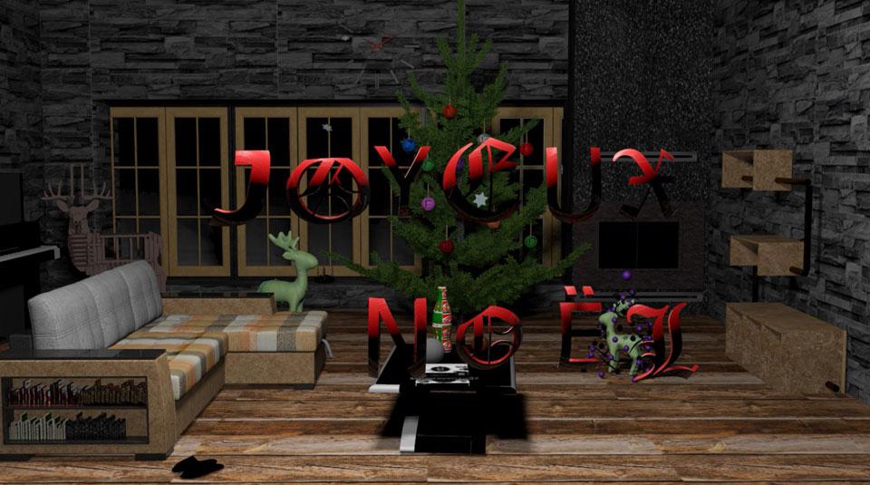 3D Salon pour Noël