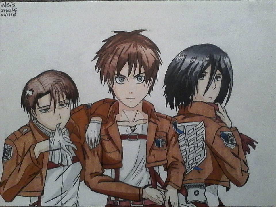 Livai, Eren, Mikasa   Attaque des Titans