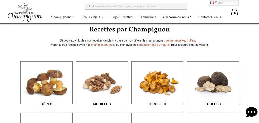 Site Web Recettes La Boutique du Champignon